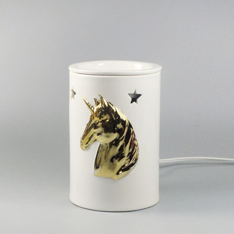 Porcelain Golden Unicorn Wax Warmer Lamp Green Life