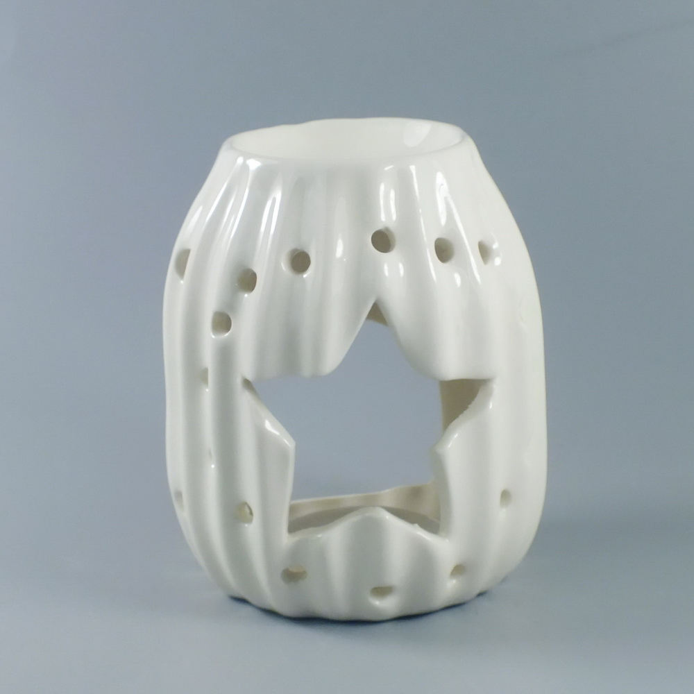NEW CERAMIC MARBLE SCENTED OIL BURNER ROUND BROWN CH