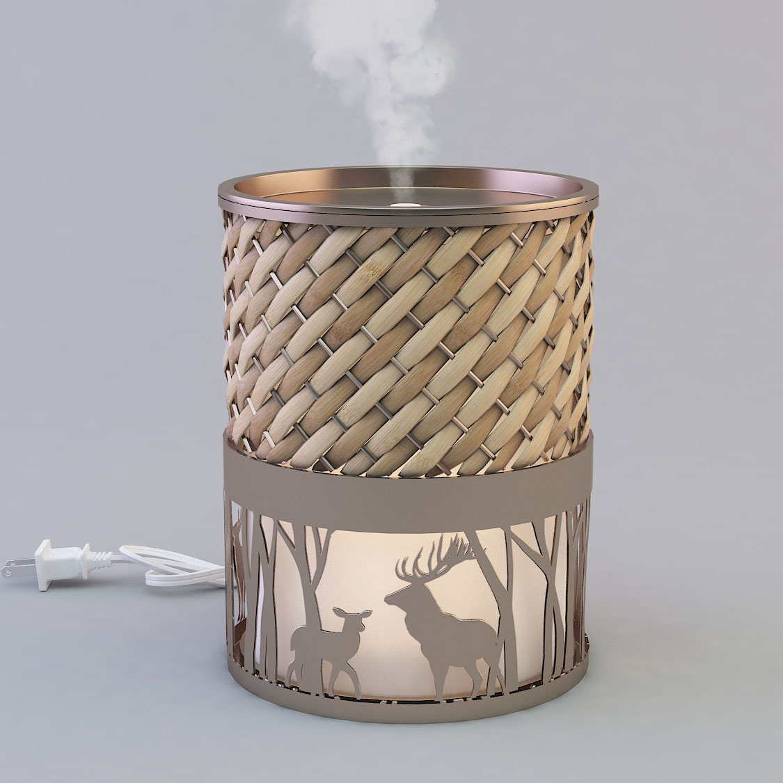 Metal aromatherapy ultrasonic diffuser with rattan GLEA2120M-Z